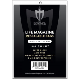 Max Pro Premium Ultra Clear Resealable Life Magazine Bags - 100ct Pack