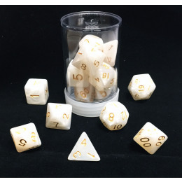 Max Protection Polyhedral 7-Die Pearl Dice Set - White Pearl