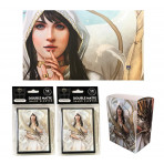 Combo - LET SLEEPING DRAGONS LIE -100ct DOUBLE MATTE Deck Protector Sleeves + Deck Box + Playmat
