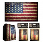Combo - USA FLAG Old Glory -100ct DOUBLE MATTE Deck Protector Sleeves + Deck Box + Playmat