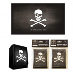 Combo - PIRATE FLAG Skull and Crossbones -100ct DOUBLE MATTE Deck Protector Sleeves + Deck Box + Playmat