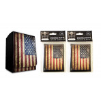 Combo - USA FLAG Old Glory -100ct DOUBLE MATTE Deck Protector Sleeves + Deck Box