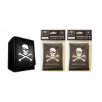 Combo - PIRATE FLAG Skull and Crossbones -100ct DOUBLE MATTE Deck Protector Sleeves + Deck Box