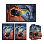 Combo - FIGHTING DRAGONS - Red / Blue Drakes -100ct DOUBLE MATTE Deck Protector Sleeves + Deck Box + Playmat
