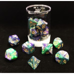 Max Protection Polyhedral 7-Die Dice Set - Marbled Planetary Blue Green