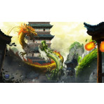Premium Image Playmat 24x14 - Trouble at the Temple