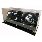 Deluxe Acrylic Double Full Size Football Helmet Display Case With Mirror Back
