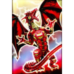 HOLO Deck Protector Sleeves - 50ct - Robo Dragon Fury - RED