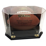 Deluxe UV Octagon Full Size Football Display Case Holder with Mirror Back