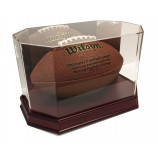 Max Pro Executive Octagon Wood Full Size Football Display Case Mirror - Cherry