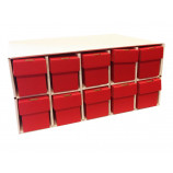 New & Improved Penthouse Card House with 10 800ct 2pc Red Vertical Boxes