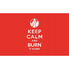 Premium Image Playmat 24x14 - Keep Calm and Burn it Down! Red Mana