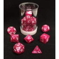 Max Protection Polyhedral 7-Die Pearl Dice Set - Rose Pearl
