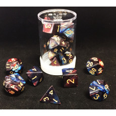 Max Protection Polyhedral 7-Die Dice Set - Marbled Royal Blood Red Blue